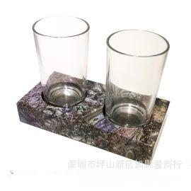 鲍鱼贝壳双人架欧式卫浴浴室牙刷杯架漱口杯架双杯架口杯架家摆件