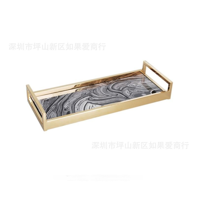 中式木制质长方形沙纹纹理木质钢琴烤漆钛金不锈钢托盘摆件样板间