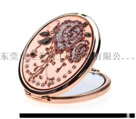 椭圆形金色镶钻小镜子金色礼品化妆镜定制折叠双面镜