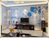 佛山瓷磚背景牆廠家個性定製彩虹石品牌中式客廳電視背景牆瓷磚 藍色牡丹 藝術陶瓷壁畫 青花