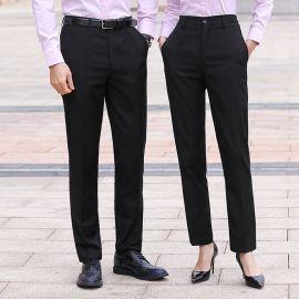 黑色工作褲女職業夏天薄款男女同款直筒修身顯瘦西褲上班工裝長褲