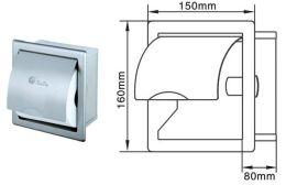 304不锈钢小卷纸盒 入墙式厕纸箱  卫生间手纸架