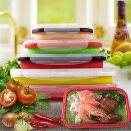 食品级硅胶折叠饭盒学生餐盒 微波炉饭盒 户外便当盒加热保鲜盒