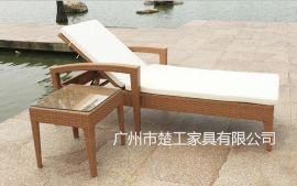 沙滩躺床 户外阳台藤编躺椅 户外藤编泳池躺椅 户外躺床