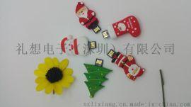 热销圣诞老人U盘 PVC推拉卡通圣诞U盘 硅胶环保圣诞节日礼品U盘