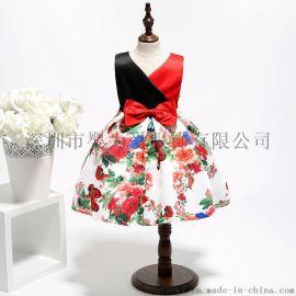 童裙童装礼服欧美印花女童连衣裙