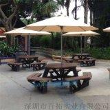 景區專用戶外桌椅遮陽傘六邊形室外防水景區桌椅定製