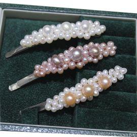 直播供货 珍珠发簪三朵梅花型 地摊饰品 编织 养殖珍珠