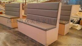 现代奶茶店小清新沙发茶餐厅油蜡皮卡座定做横岗沙发厂