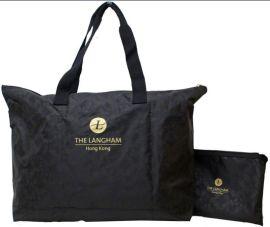 折叠尼龙子母行李袋+印暗花款式