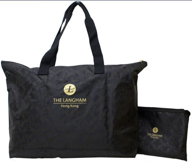 摺疊尼龍子母行李袋+印暗花款式