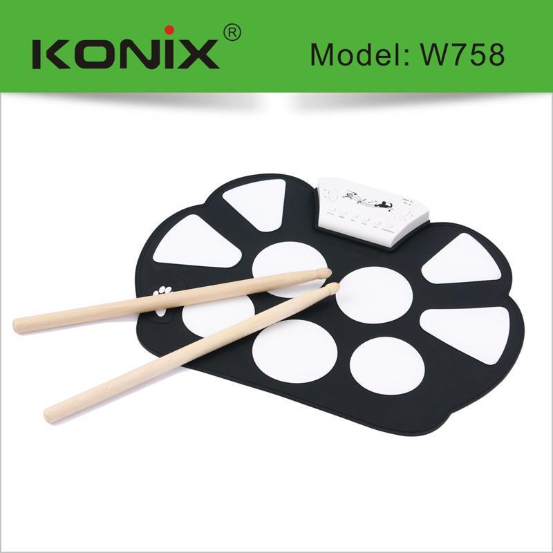 手卷架子鼓W758硅胶手卷架子鼓, usb手卷电子鼓 模拟架子鼓