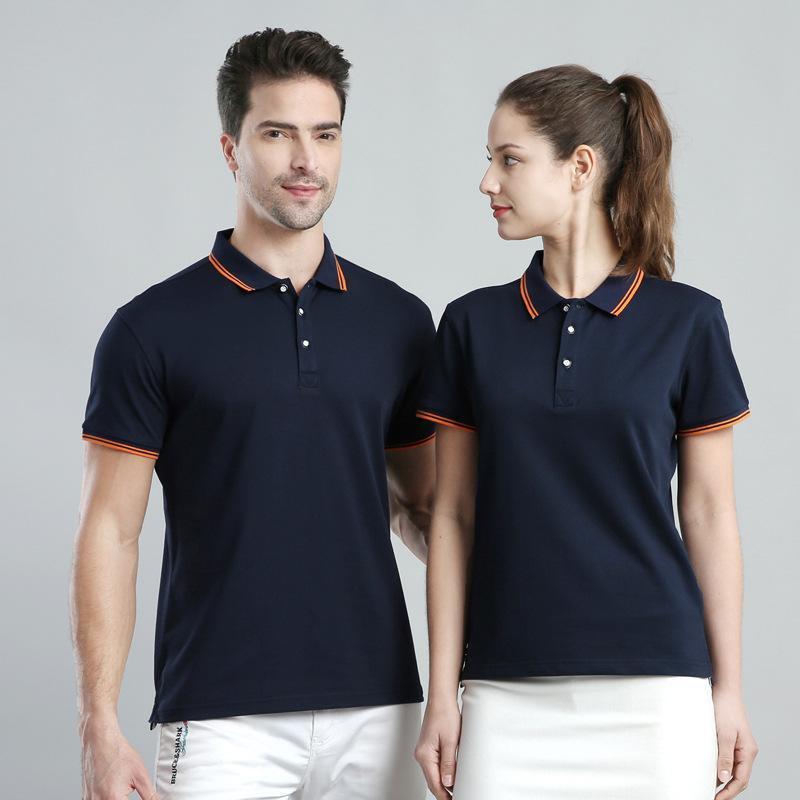 男式夏裝翻領POLO衫半袖寬鬆工裝工作服定製印製LOGO上衣短袖T恤