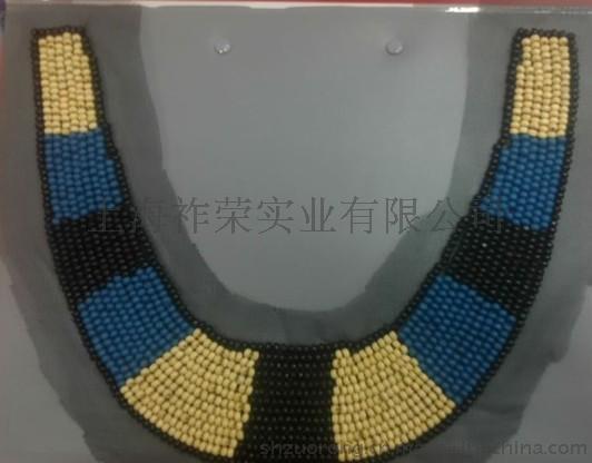 网纱木珠衣领 珠绣领花 珍珠串珠假领子 手工钉钻衣领