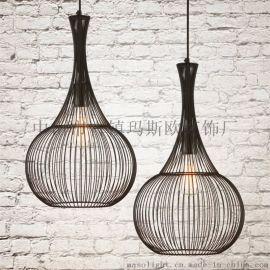 北欧铁艺灯具餐吊个性复古单头loft咖啡厅创意小吧台灯饰工业吊灯MS-P6012