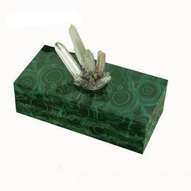 现代中式长方形绿色孔雀石首饰盒木质天然结晶石饰品收纳盒摆件