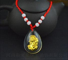 五皇一后珠宝 天然水晶透明金美晶貔貅吊坠 节日礼品