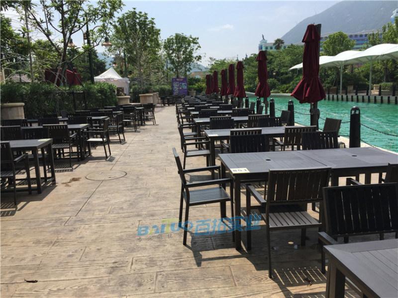 防水户外桌椅阳台休闲桌椅组合花园塑木长桌凳室外桌椅