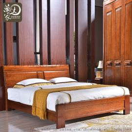 胡桃木双人实木床现代中式卧室家具框架床9028#