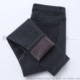 保暖高腰牛仔裤女冬季加绒加厚弹力紧身显瘦带绒长裤