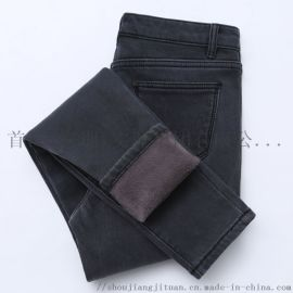 保暖高腰牛仔褲女冬季加絨加厚彈力緊身顯瘦帶絨長褲