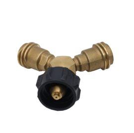 北美燃气丙烷转换充气接头压力表气罐接头组合黄铜Y型POL手轮