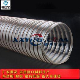 鑫翔宇卫生级耐磨PU镀铜钢丝伸缩吸尘软管 陶瓷/木工厂吸尘0.6mm
