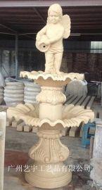 人造砂岩流水盆大型流水钵雕塑 庭院小天使流水花钵