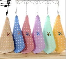 卡通纯棉纱布童巾, 蜂窝方巾,幼儿园口水巾