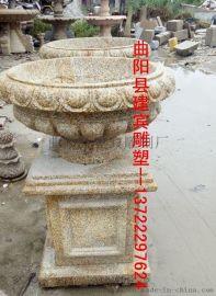 公园石材花盆 花岗岩花钵 欧式石雕花钵