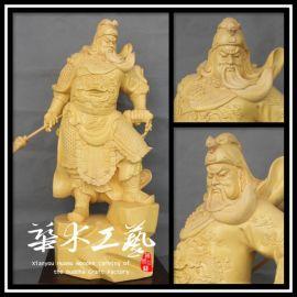 木雕佛像横刀关公