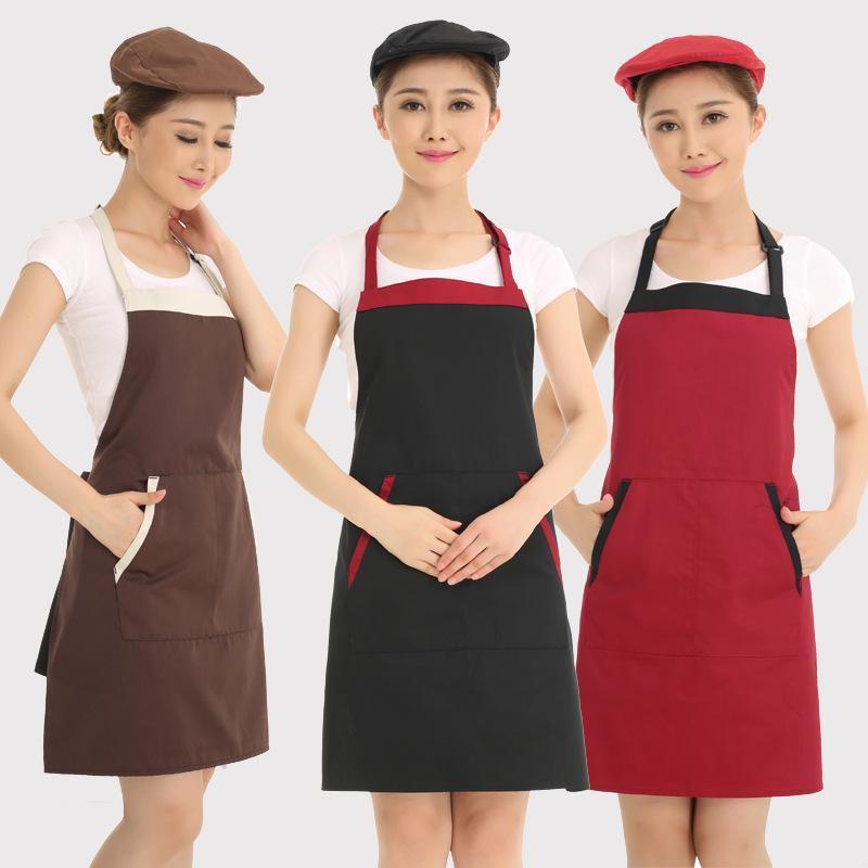 韓版圍裙定製 咖啡店奶茶男女掛脖圍裙酒店餐廳服務員圍裙印LOGO