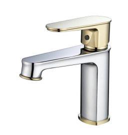 廠家直銷新款鉻+金色水龍頭 銅冷熱水龍頭