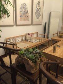 成都新中式定制 免漆老榆木客厅沙 定做白茬烫蜡家具
