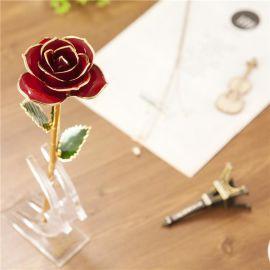 黛雅镀金玫瑰花 鲜花金玫瑰红色 厂家批发 加工 现货批发 外贸订单加工