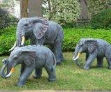 楊浦園林仿石雕大象擺件 大型戶外玻璃鋼雕塑擺設