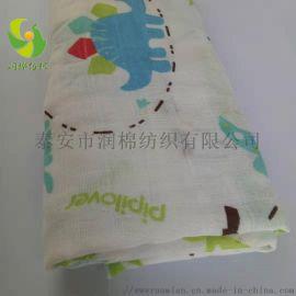 泰安润棉纺织厂家直销普梳全棉方格双层印花纱布