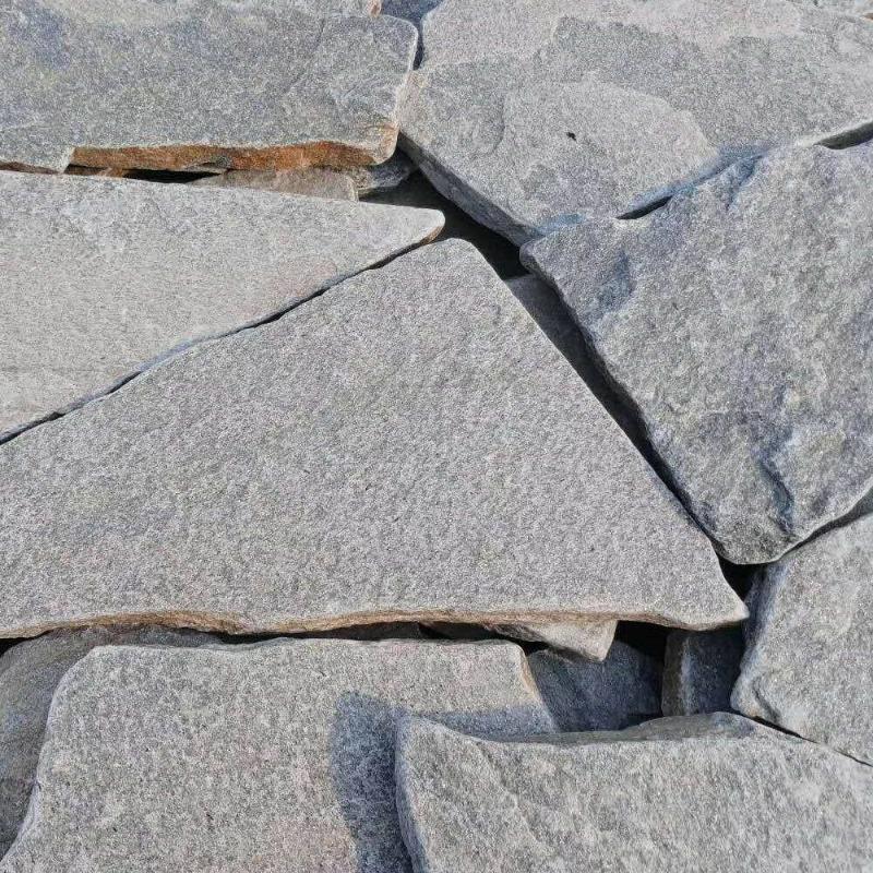 廠家批發 灰色碎拼石 園林鋪地亂形石英 天然灰石英片石