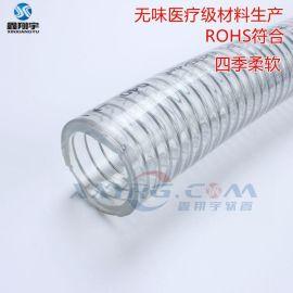 四季柔软PVC透明钢丝增强软管, 耐高低温耐腐蚀耐油排水管