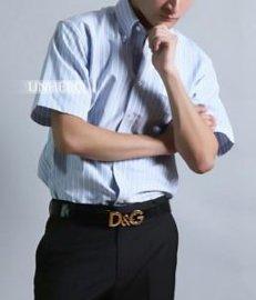 UNHERO皇家免烫牛津纺全棉短袖衬衫(蓝白红条纹)