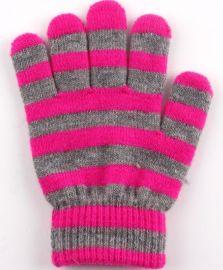 条纹女式全指保暖手套