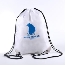 白色涤纶束口袋定制logo牛津布袋双肩背包袋