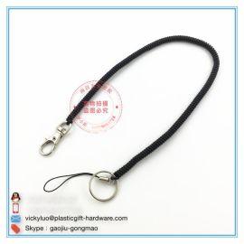 外贸品质环保PU塑料弹簧伸缩挂绳手机链老人小孩钥匙防丢失手绳