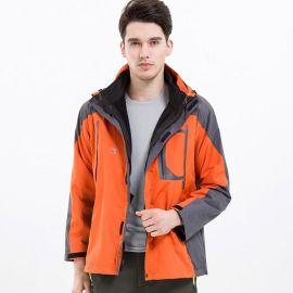 户外服装可拆卸加绒内胆冬季防寒两件套三合一防水冲锋衣定制绣标
