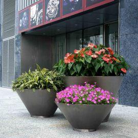 不锈钢花箱定制厂家 户外圆形花钵 酒店大堂装饰花盆 景观花钵