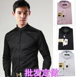 餐饮工作服立领衬衣黑白百搭圆领长袖中山立领男式衬衫工衣定logo