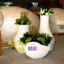 商场组合式玻璃钢花盆雕塑酒店**圆柱形玻璃钢花瓶户外玻璃纤维花盆