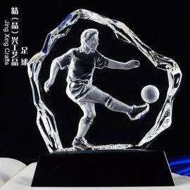 足球賽事水晶獎牌 教練比賽紀念水晶冰山獎牌定制