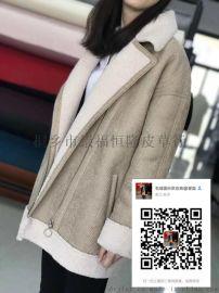 烫金印花格子麂皮绒复合羊毛|格子羊剪绒复合皮毛一体