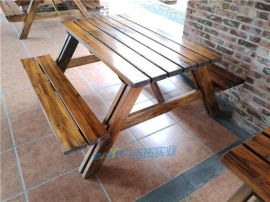露天花園實木休閒桌椅物業小區架空層防腐戶外桌椅組合